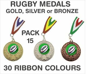 PACK-OF-15-75p-each-Rugby-Medals-Budget-Ribbons-Metal-50mm-Ref-GMM7050-MR1