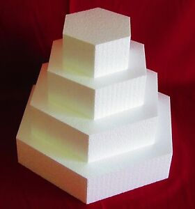 "New Foam Cake Dummy set 4 pc Hexagon 6"" to 15"" at 4"" Thick EPS Foam"