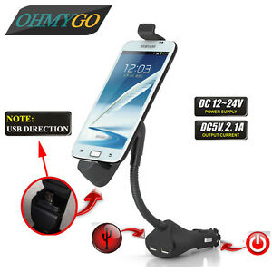 Car-Phone-Holder-Mount-Stand-with-Dual-USB-Charger-For-Universal-Smart-Phones