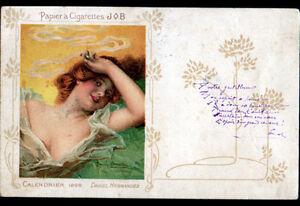 PAPIER-CIGARETTE-JOB-CALENDRIER-1898-illustre-Fleurs-D-HERNANDEZ-avant-1904