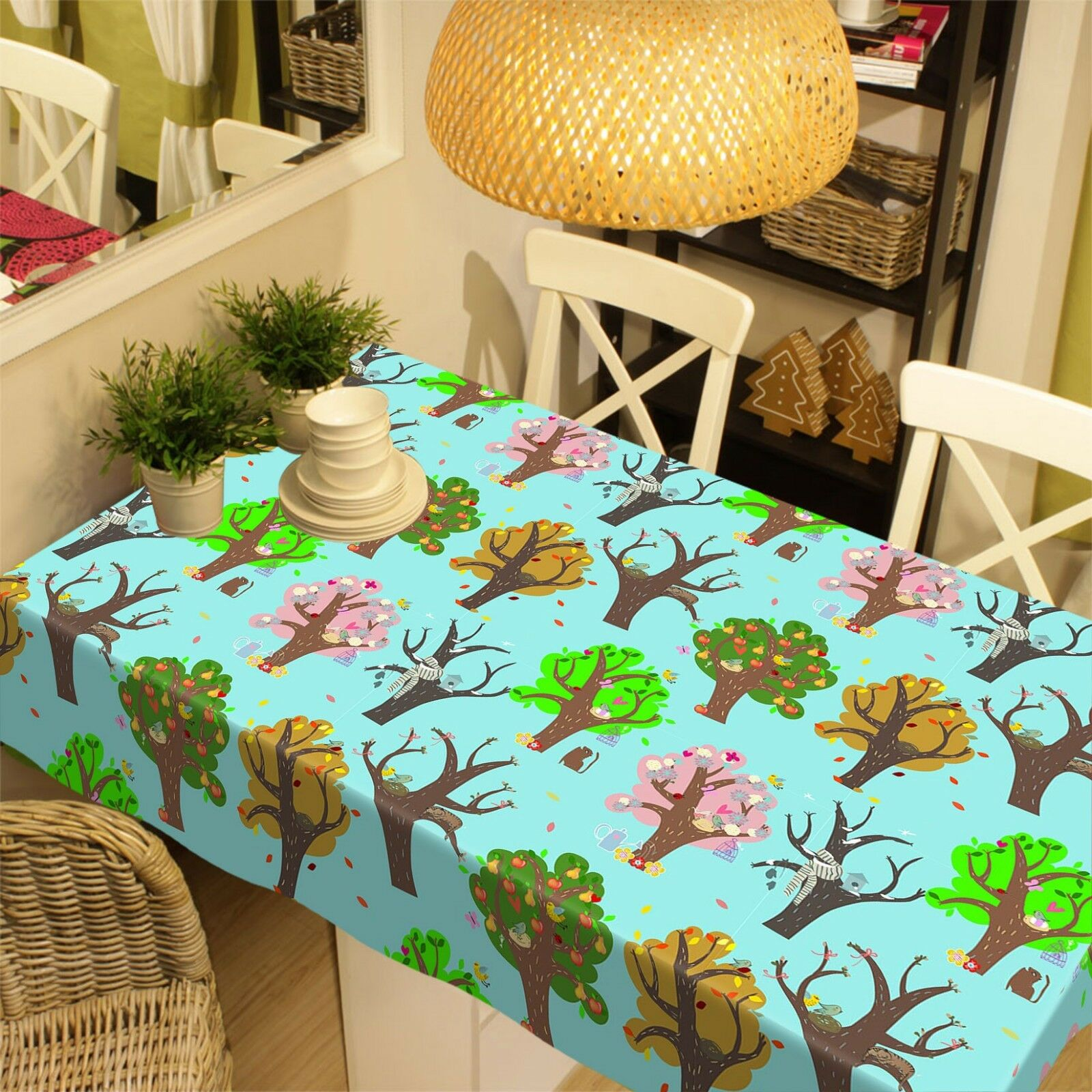 3D Painted Trees 09 Tablecloth Table Cover Cloth Birthday Party Event AJ Jenny