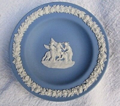 "Vintage WEDGWOOD Blue Jasperware Pin tray 4.5"" Small Round Dish Muses with Pegas"