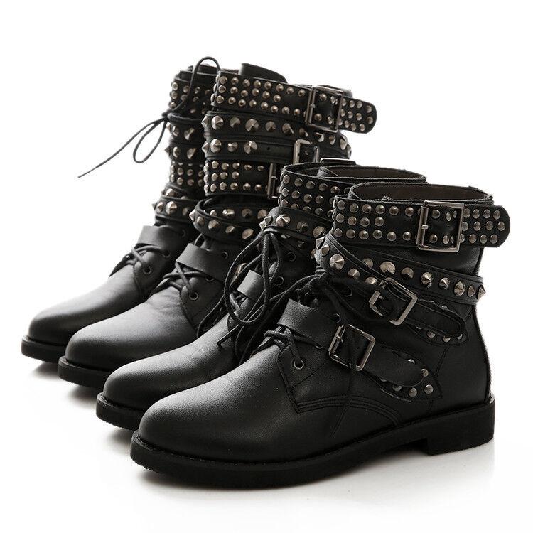 Womens Punk Buckle Strap Lace Up Rivet Combat Ankle Boots Shoes Plus Size Sbox1