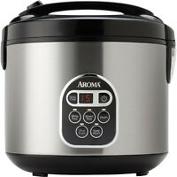 Aroma 20 Cup Stainless Steel Digital Rice Cooker / Slow Cooker / Food Steamer on sale