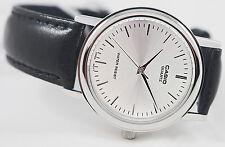Casio MTP1095E-7A Mens Silver Analog Watch Quartz Black Leather Band New