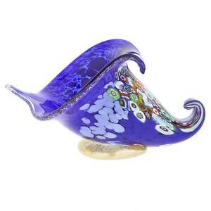 GlassOfVenice Murano Glass Millefiori Horn Of Plenty Sculpture - Blue