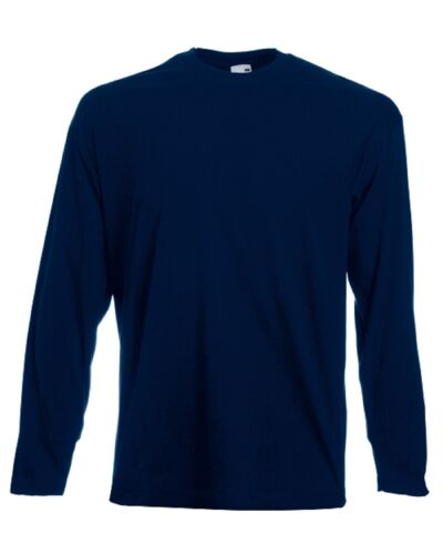 5 Pack Men/'s Fruit Of The Loom Long Sleeve T-Shirt Tee Top Plain Round Neck New