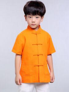 grande vente 7430f 514d9 Détails sur 100% Fait Main Chemise Chinoise Garçon Vêtement Kung Fu Tai Chi  Mode Enfant #105