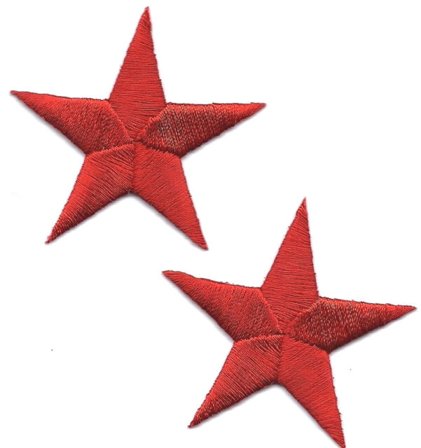 "STARS - RED  2 3/8"" STARS (2 Pieces)- Iron On Embroidered Applique/Astrology"