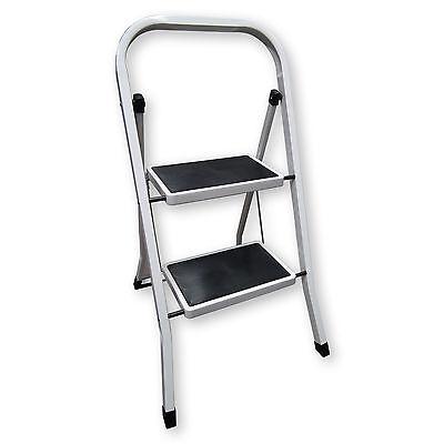 Heavy Duty Steel 2 Step Ladder Portable Compact Folding Metal Stepladder Stool