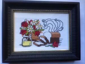 "Bread & Honey Cross Stitch Kitchen Design ""Framed"""