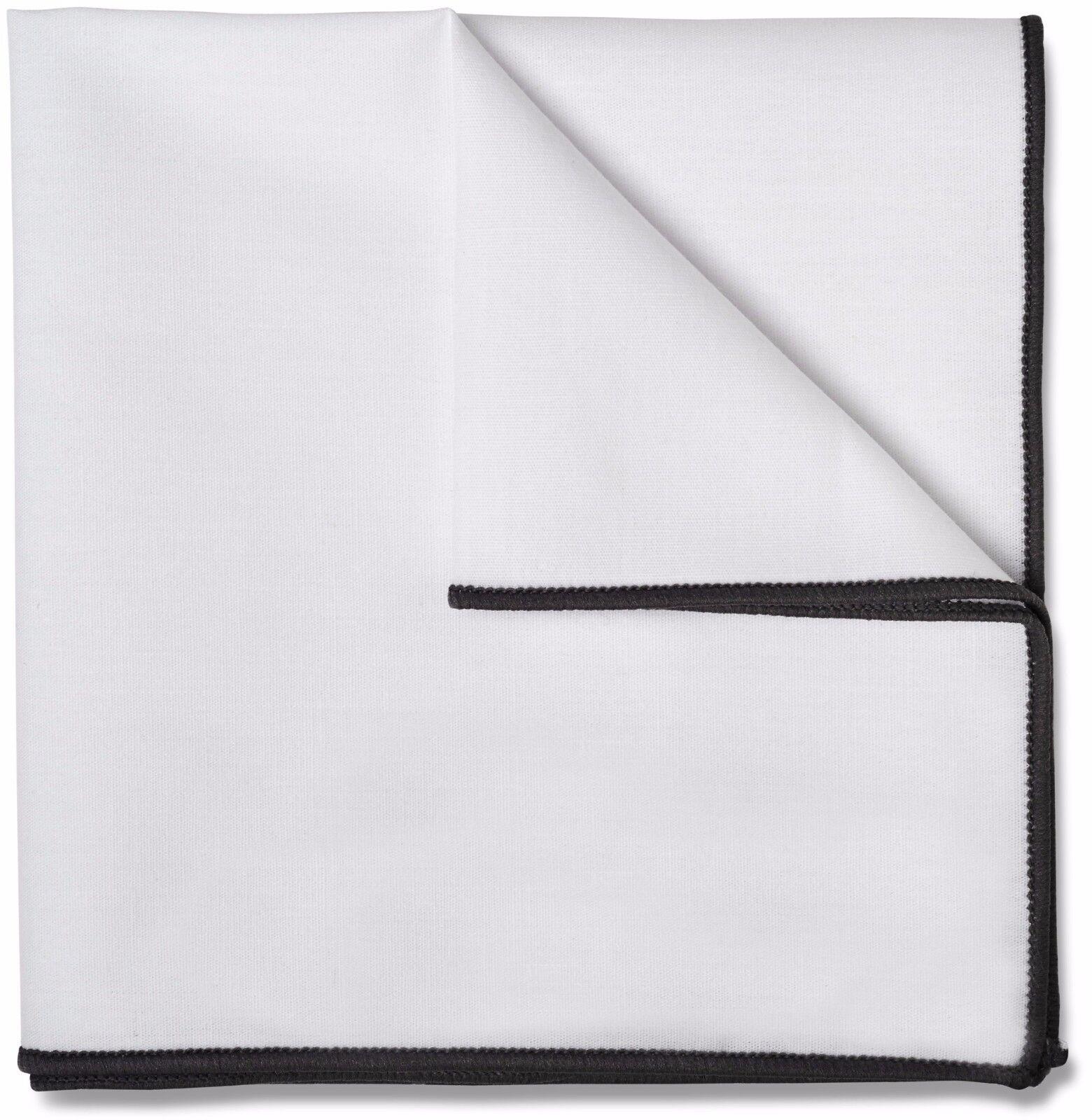 Mens White Pocket Square 100% Cotton 10 x 10 Grey Border PC-PSQ-GRY