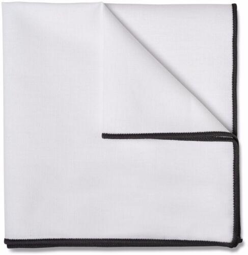 Mens White Pocket Square 100/% Cotton 10 x 10 Grey Border PC-PSQ-GRY