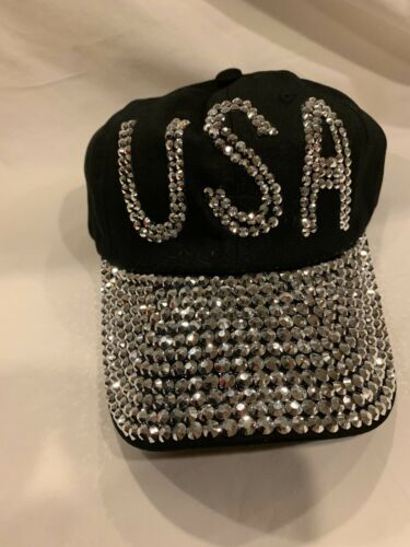 Black USA American Bling Rhinestone Ball  Cap Hat Adjustable Women