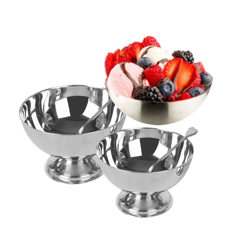 Acier Inoxydable Ice Cream Cup Dessert Salade de Fruits Bol Avec Une Fourchette 9cm 10cm