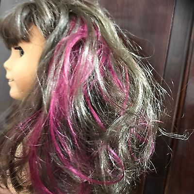 """New Doll Hair Highlights Add On /""""Mauve/"""" Fit American girl doll Or Any Doll"""