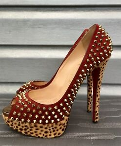 CHRISTIAN LOUBOUTIN Red Suede Gold