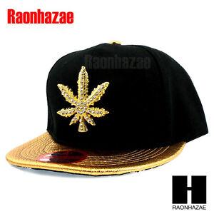 HIP-HOP-ICED-MARIJUANA-LEAF-PENDANT-FLAT-BILL-SNAPBACK-GOLD-BLACK-HAT-CAP