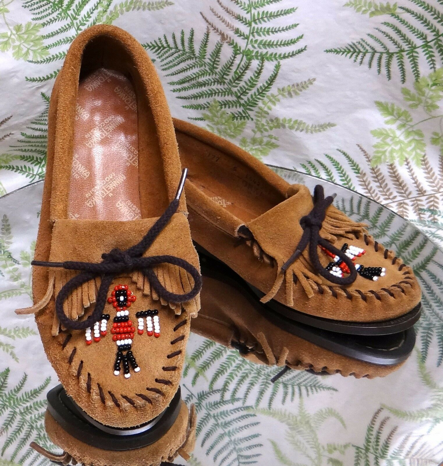 MINNETONKA BROWN LEATHER MOCCASINS LOAFERS CASUAL COMFORT SHOES US WOMENS SZ 5