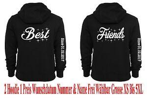 Motive Hoodie Pullover mit Best Friends Motiv 2 Stück Partnerlook Hipster div