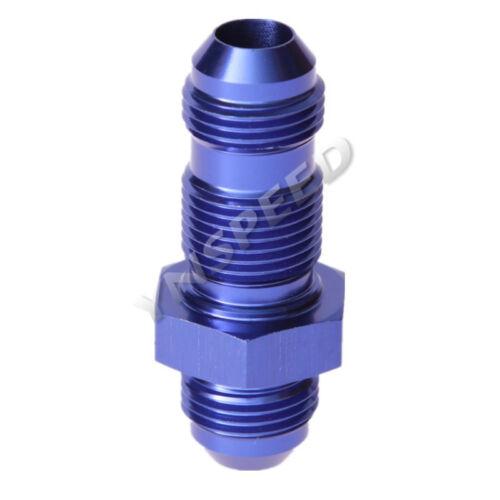 3AN AN3 To 3AN AN-3 Straight AN Bulkhead Aluminum Fitting Adaptor Blue