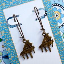 Grand Piano Pianst Bronze Kidney Wire Drop Dangle Earrings