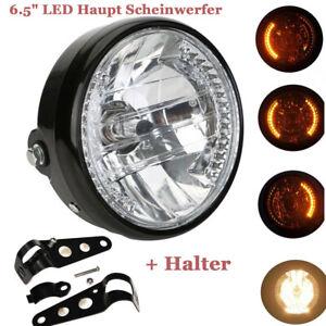 Motorrad-ATV-Quad-6-5-034-LED-Haupt-Scheinwerfer-mit-Roller-Blinker-Halter