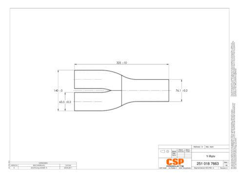 """Stahl Auspuff Universal Y-Rohr 76.1mm zu 63.5mm 3/"""" 2.5/"""""""