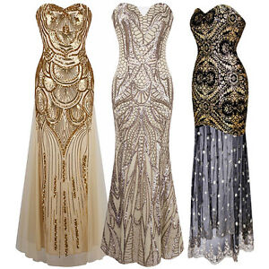 1920s Strapless Dress Deco Great Gatsby Vintage Sequin ...