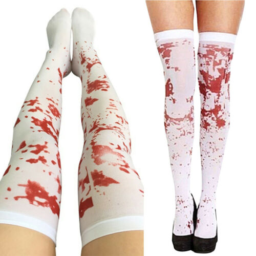 Over The Knee Socks Fake Red Blood Stained Bloody Halloween Costume Horror White