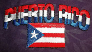 PUERTO RICO Flag Embroidered Iron-On Patch Military Gray Version Red  Border