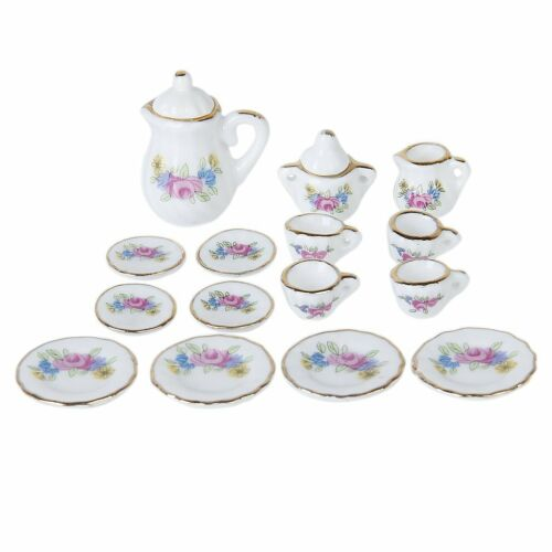 15 Piece Miniature Dollhouse Dinnerware Porcelain Tea Set Tableware Mug G5X7