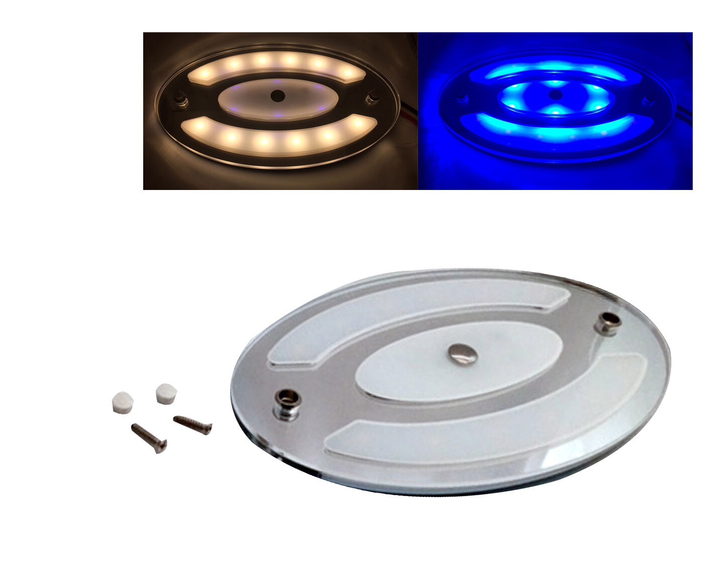 Pactrade Marine 1PCS White bluee Oval LED Ceiling Courtesy Light Mirror Touch