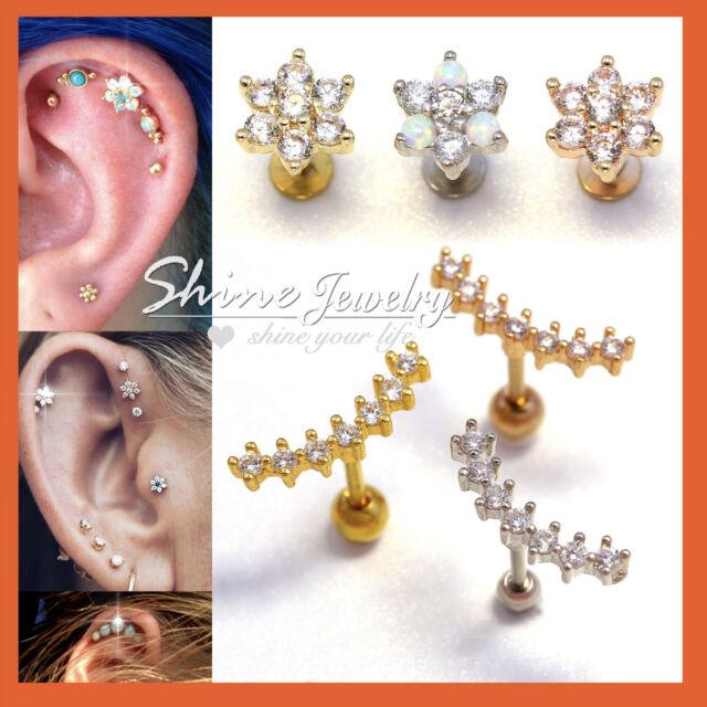 Opal Crystal Stud Ring Bar Ear Climber Earrings Cartilage Helix Tragus Piercing