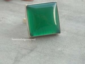 Cabochon-Green-Onyx-Ring-925-Sterling-Silver-Women-Gift-Jewelry-All-US-SIZE