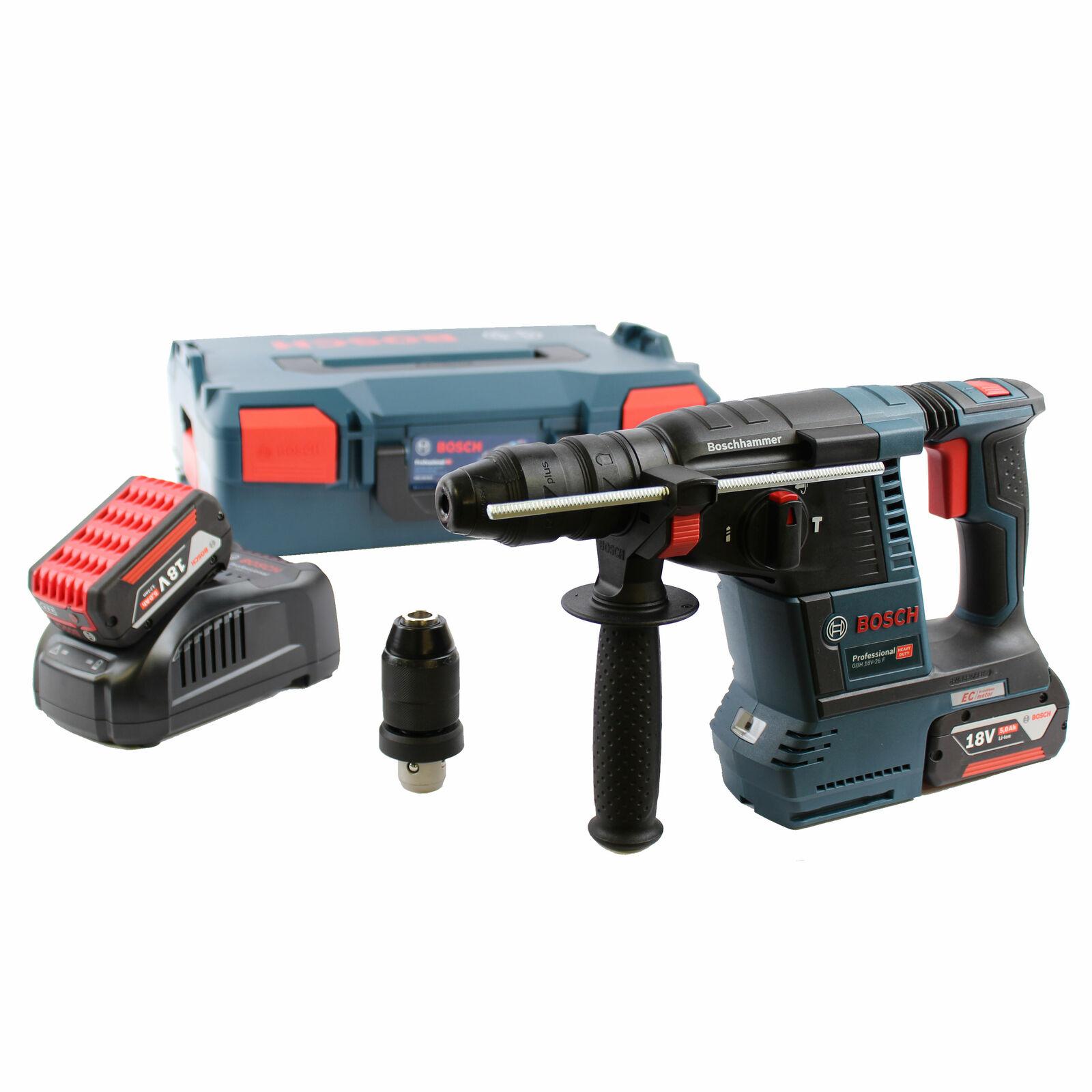Bosch Akku-Schlagbohrhammer GBH 18V-26 F mit 2x 5,0 Ah Akkus + Lader + L-BOXX