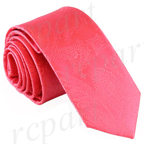 "New Men/'s Polyester Woven 2.5/"" skinny necktie only paisley coral prom formal"