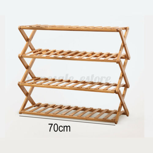 2//3//4 Tier Folding Shoe Rack Bamboo Wooden Shelf Stand Storage Organizer Cabinet