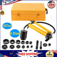 10 Ton Hydraulic Knockout Punch Hand Pump Hole Tool Driver Kit 6 Dies With Case