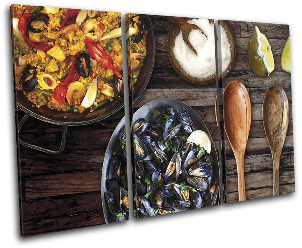 Spanish Paella Seafood Food Kitchen TREBLE Leinwand Wand Kunst Bild drucken