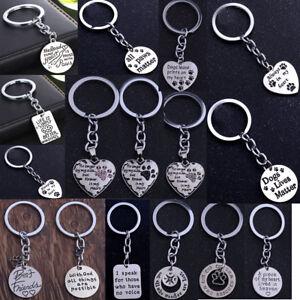 Pet Dog Cat Memorial Heart Pendant Paw Print Keychain Keyring Key ... a570f7a16