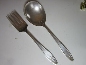 Vintage-Lady-Doris-Silver-Plated-Casserole-Serving-Spoon-and-Serving-Fork-1929
