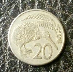 New-Zealand-1980-20-Cents-Copper-Nickel-Q-Elizabeth-II-Kiwi-Bird-039-VF-EF-039