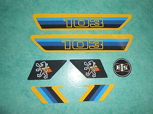 Lot autocollants Peugeot 103 bleu et jaune