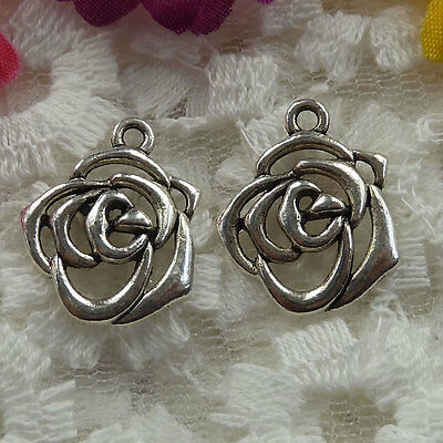Free Ship 76 pieces Antique silver flower charms 19x16mm  #035