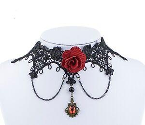 Stunning vintage black lace red rose pendant necklace choker image is loading stunning vintage black lace red rose pendant necklace mozeypictures Choice Image