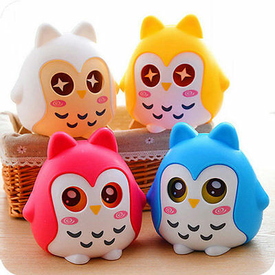 Lovely Cute Cartoon Toy Owl Coin Box Money Saving Bank Kids Gift