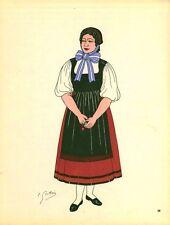 Gravure d'Emile Gallois costume des provinces françaises 1950 Franche-Comté