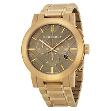 new Burberry BU9353 Rose Gold Plated Mens Stainless Steel Watch with Taupe Dial