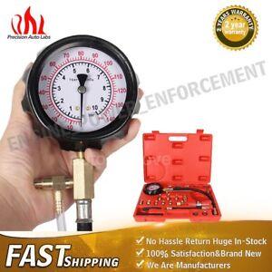 140 PSI Pressure Gauge Tester Gasoline Fuel Injection Pump Tool Kit With Case US
